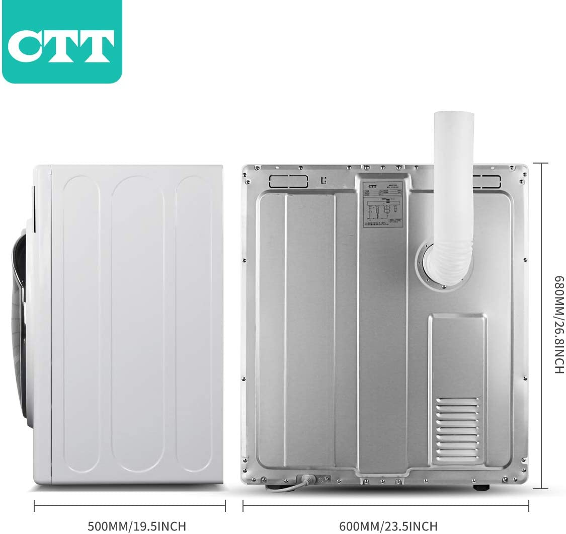 Gray Intelligent Humidity Sensor Capacity//3.5 Cu.Ft Intelligent Compact Portable Tumble Clothes Laundry Dryer CTT 13 Lbs