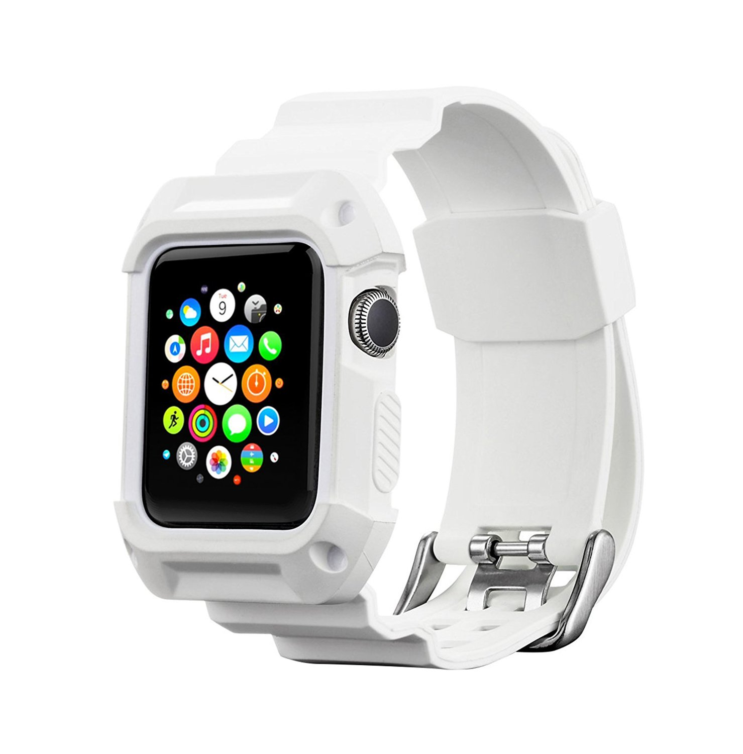Compatible for Apple Watch Band with Case 42mm, MAIRUI Rugged Protective G-Shock Replacement Strap Wristband for Apple Watch Series 3/2/1, iWatch Sport/Edition (White) by MAIRUI