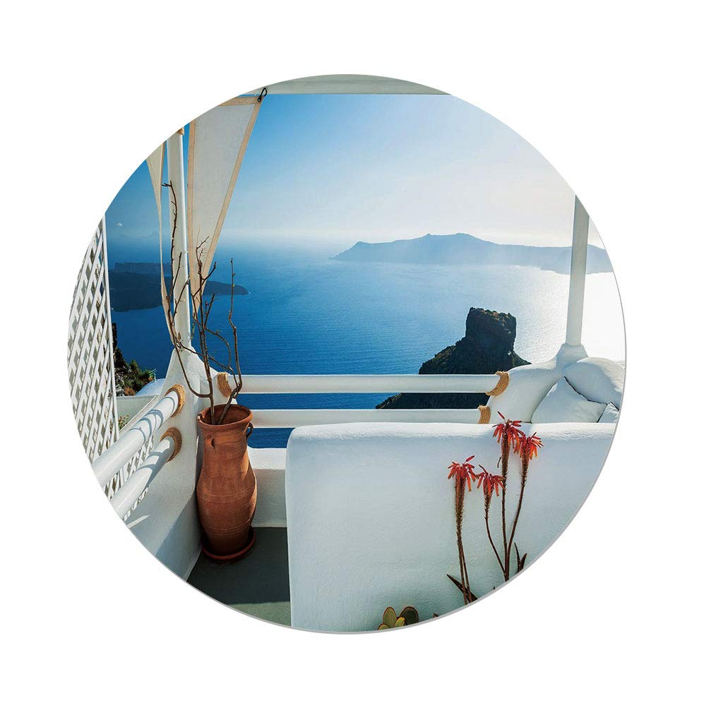 iPrint Polyester Round Tablecloth,European,Holiday Terrace Sea at Sunset Architecture on Santorini Island Greece,Turquoise Blue,Dining Room Kitchen Picnic Table Cloth Cover Outdoor Indoor
