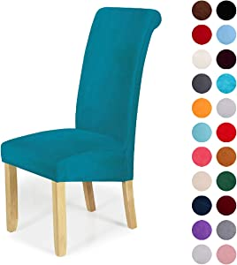 Velvet Stretch Dining Chair Slipcovers - Spandex Plush Short Chair Covers Solid Large Dining Room Chair Protector Home Decor Set of 2, Peacock Green