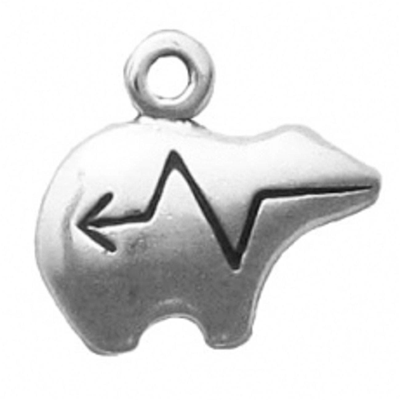 Sterling Silver Mini Heartline Bear Facing Right Charm