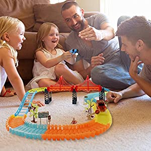 BIGWING Style Track Car Toys, Magic Track Cars Set with 2 Race Cars, 1 Hanging Bridge and Other Traffic Accessories, Track Car Toys for Kids (360 PCS)