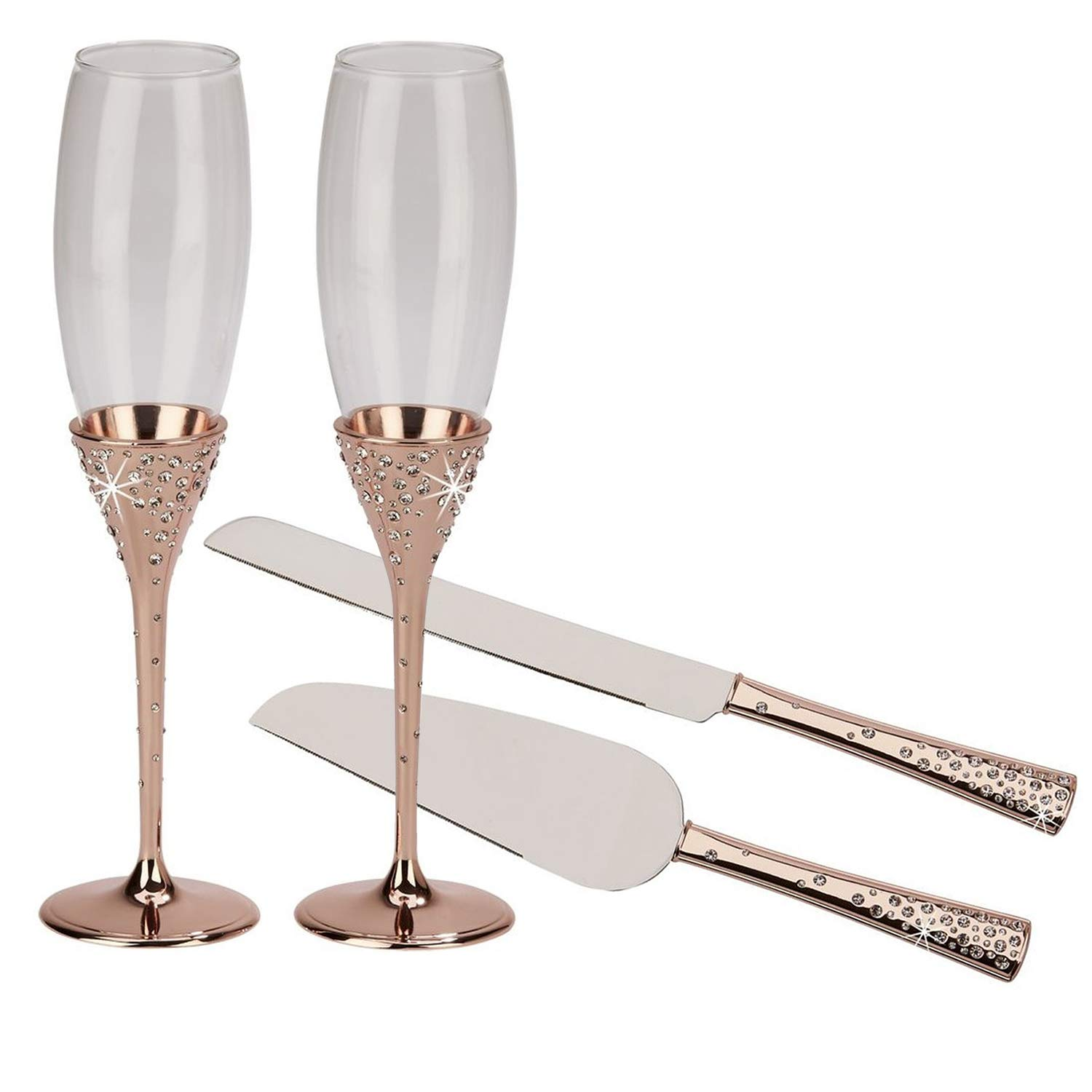 Rose Gold Toasting Flutes and Cake Knife Server with Embedded Crystals