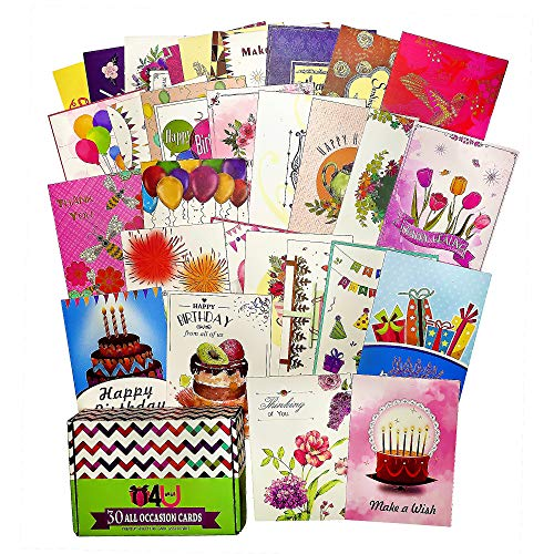 Greeting Cards Assortment for All Occasions – 30 Pack Box Set Handpicked Greeting Card Assorted Blank Cards with Envelopes 5x7