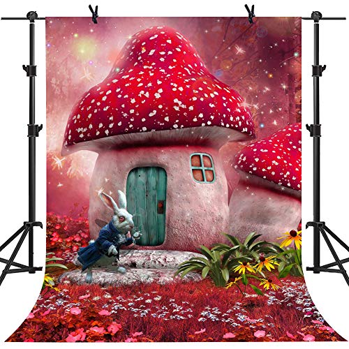 MME 5x7Ft Alice in Wonderland Backdrop Dreamland Fair Tale Mushroom House Rabbit Magical Background Studio Children Video NANME011