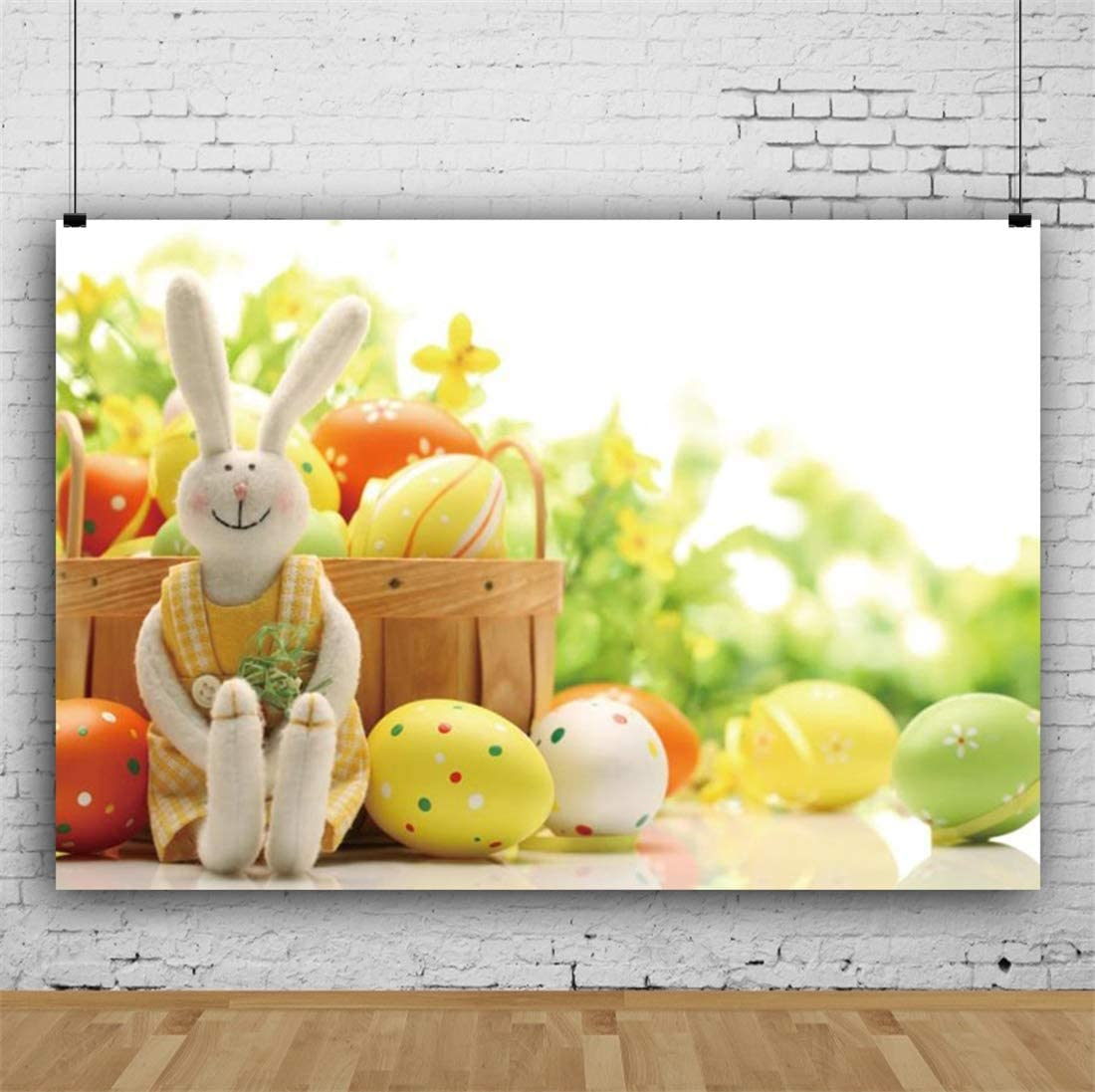 Yeele-Easter-Backdrop 10x8ft Easter Photography Background Eggs Rabbit Blurry Basket Photo Backdrops Pictures Studio Props Wallpaper