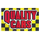 QUALITY CARS Flag Automotive Business 3 x 5 Foot Used New Autos Dealer Sign