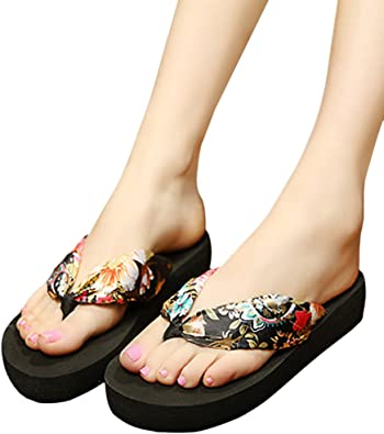 Sandals Women Ladies Girls Pearl Floral Wedges Flip Flops Sandals Slippers Beach Shoes Pandaie Womens ..