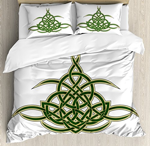 Celtic Duvet Cover Set by Ambesonne, Original Celtic Shield Icon Gothic Design Abstract Scotland Medieval Style Art, 3 Piece Bedding Set with Pillow Shams, Queen / Full, Green (Gothic Shield)