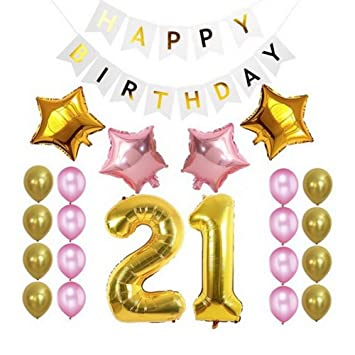 21st Birthday Girl Decorations Beautiful Number One Balloon Pink Happy Banner