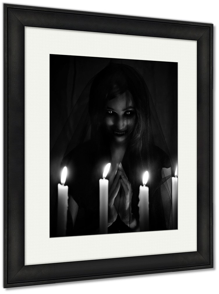 Ashley Framed Prints Salem Witch Invoking Demons Into The Churc On Halloween, Wall Art Home Decoration, Black/White, 30x26 (frame size), Black Frame, AG6085801