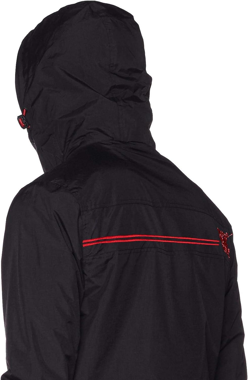 Superdry Tech Hood Pop Zip Windcheater Veste de Sport Homme Gris (Dark Charcoal/Court Red Xy5)