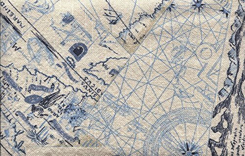 Home Comforts LAMINATED POSTER Blue Vintage Navy Texture Nautical Map Fabric Poster 24x36 (Map Fabric Chart)
