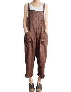 78e800168ee7e Amazon.com  Women s Casual Jumpsuits Overalls Baggy Bib Pants Plus ...