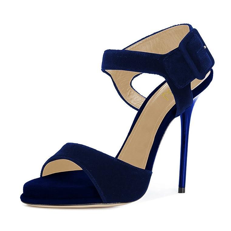 3c9fdf8070e1 Women Summer Open Toe Ankle Strap Sandals Platform Stilettos High Heels  Dress Shoes Size 4-