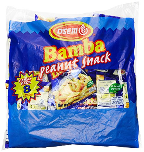 Bamba Peanut Butter Snacks All Natural Peanut Butter Corn Puff Snack (Pack of 8 x 0.7oz Bags)