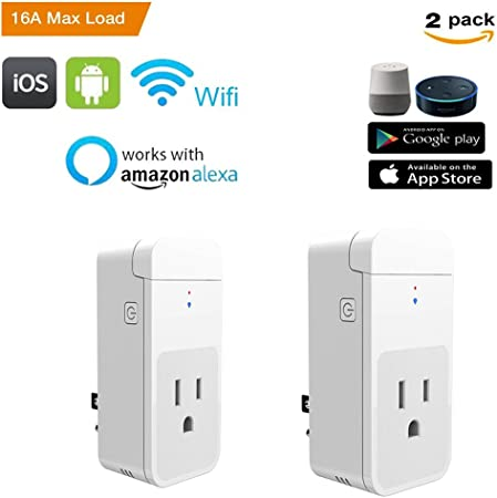 Compatible with Alexa and Google Home 2Pack Smart Home Power Control Socket Wireless Control Your Household Appliance from Anywhere GoldenDot WiFi Mini Plug No Hub Required