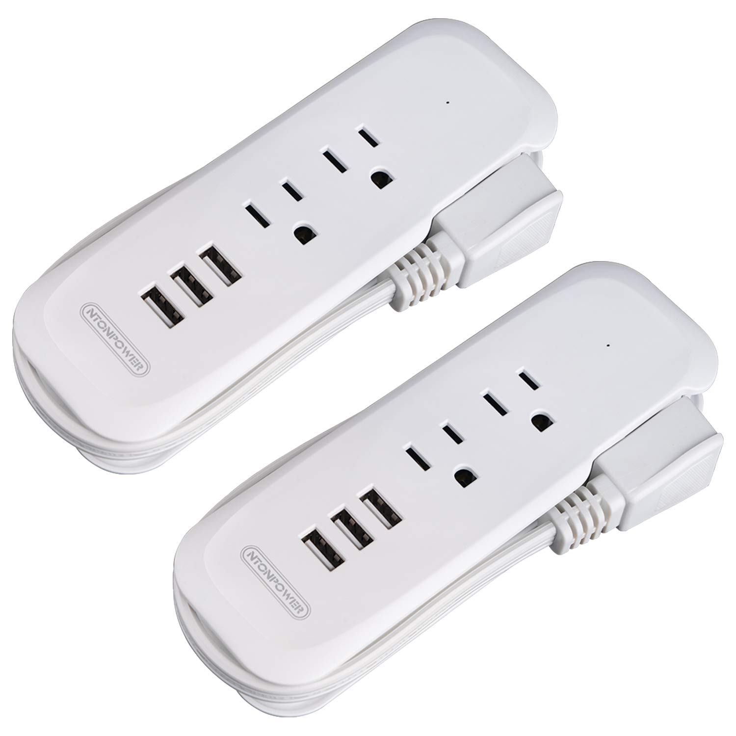 Travel Power Strip 2 Pack - NTONPOWER Power Strip with 2 Outlets and 3 USB, Portable Desktop Charging Station, 15 inches Short Extension Cord, Compact for Cruise Ship, Nightstand, Office, Home, Hotel
