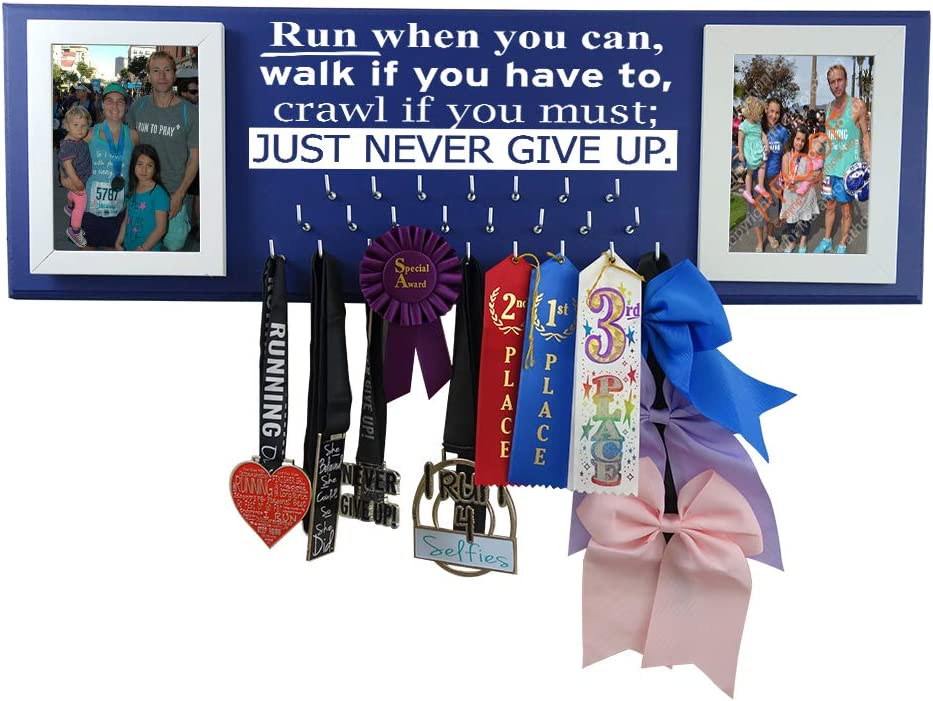 Wall Mounted Medal Holder and Hanger for Marathons, Track, Cross Country, 5K & 10K Runners - Run When You can, Walk if You Have to, Crawl if You Must; Just Never Give Up.
