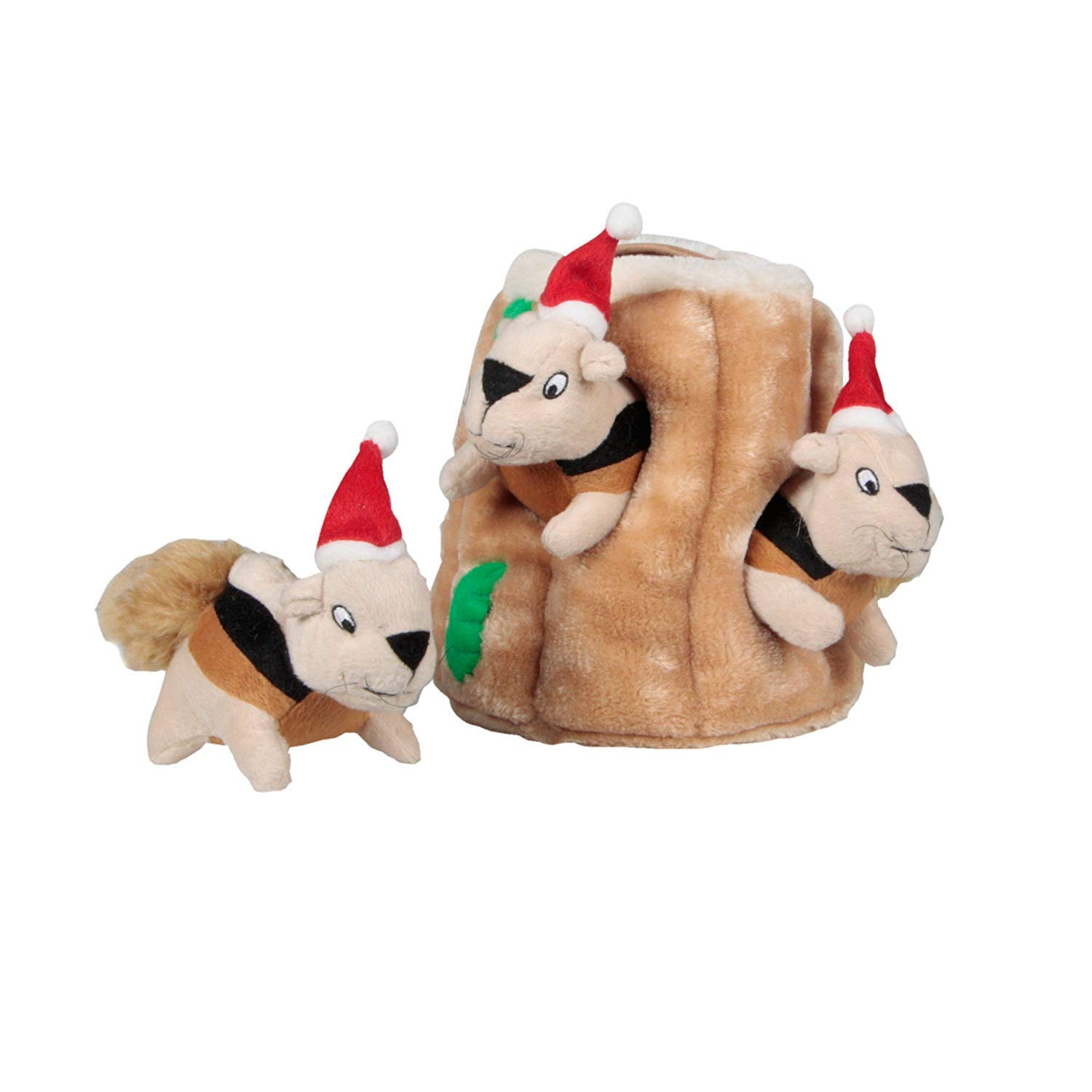 Kyjen 2575 Holiday Hide-A-Squirrel Interactive Squeaking Plush Dog Toys, Large, Brown