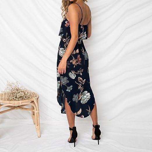 Vestidos Sexy Mujer Verano 2018, Sonnena Mujeres Sexy Off Hombro Backless sin Mangas Split Extremos Verano Playa Vestido Largo Floral impresión: Amazon.es: ...