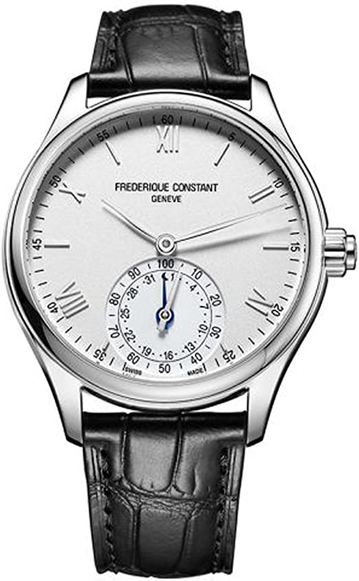 Frederique Constant Mens Horological Smart Watch Stainless Steel Swiss-Quartz Leather Calfskin Strap, Silver, 21 (Model: FC-285S5B6)