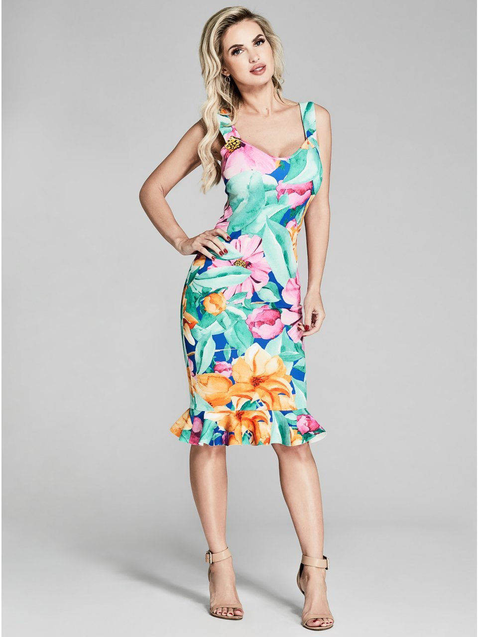 GUESS by Marciano Womens Eden Floral Scuba Dress at Amazon Womens Clothing store: