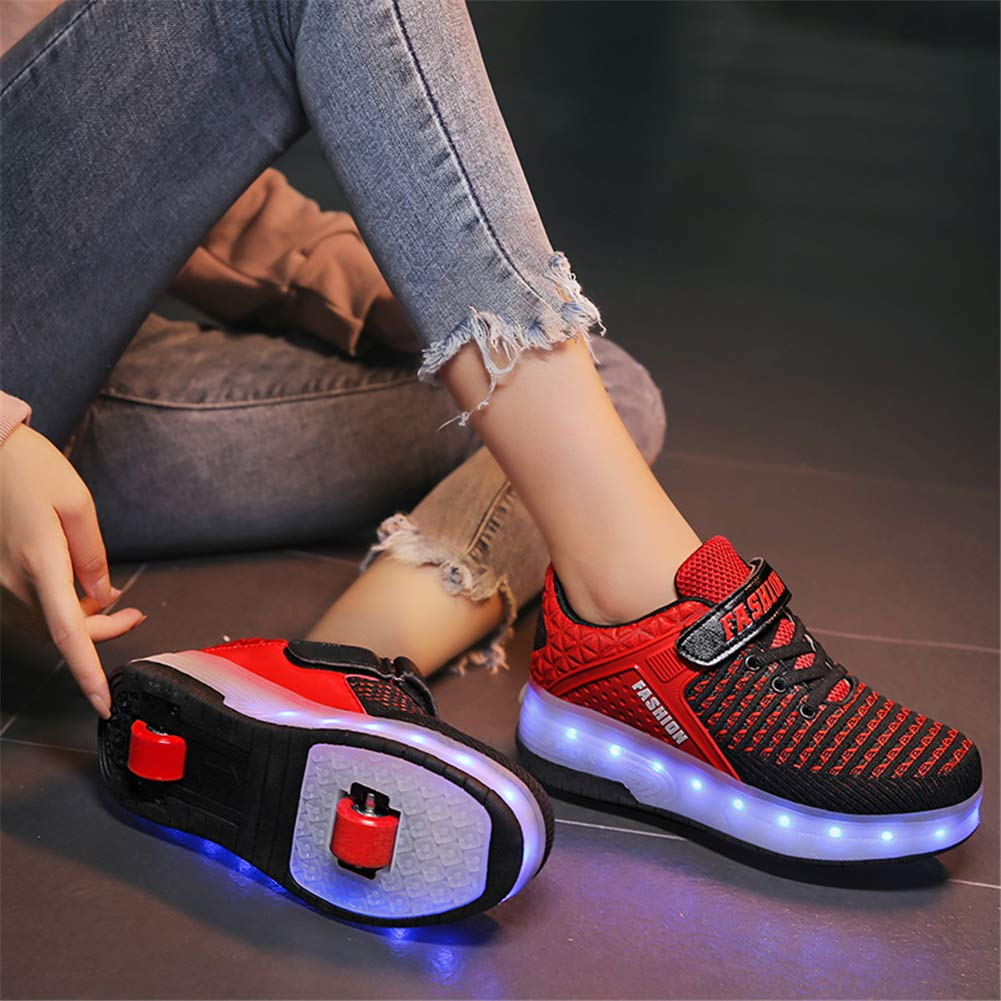 KCHKUI-UK 7 Colors Changing Led Roller Skate Shoes with Double Wheels USB Rechargeable Automatic Retractable Inline Technical Skateboarding Shoe Cross Trainers Sport Outdoor Running Gym Sneakers