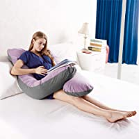 Australian Made Pregnancy/Maternity/Nursing Pillow Body Feeding Support (Lilac x Grey Pillowcase Included)