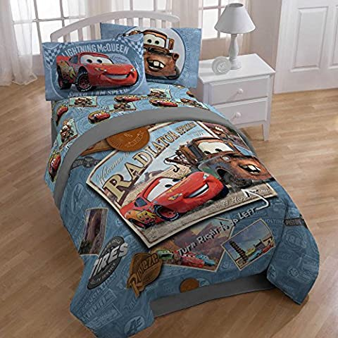 Disney Cars Kids 5-Piece Full Size Bedding Set, Includes Twin/Full Comforter and Sheet Set, Made of 100% Polyester