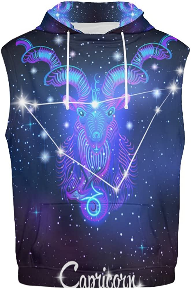 Constellation Zodiac Sign Capricorn Mens 3D Printed Sleeveless Hoodie