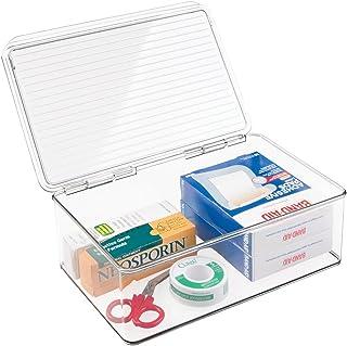 mDesign Aufbewahrungsbox – stapelbarer Verbandskasten mit Deckel für den Medizin-Schrank – dank BPA-freiem Kunststoff perfekt als Medikamenten Organizer – durchsichtig