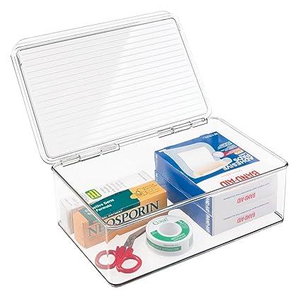 mDesign Caja organizadora de plástico – Cajonera plástica apilable con Tapa para Usar como botiquín – En plástico sin BPA, organizar medicamentos – ...