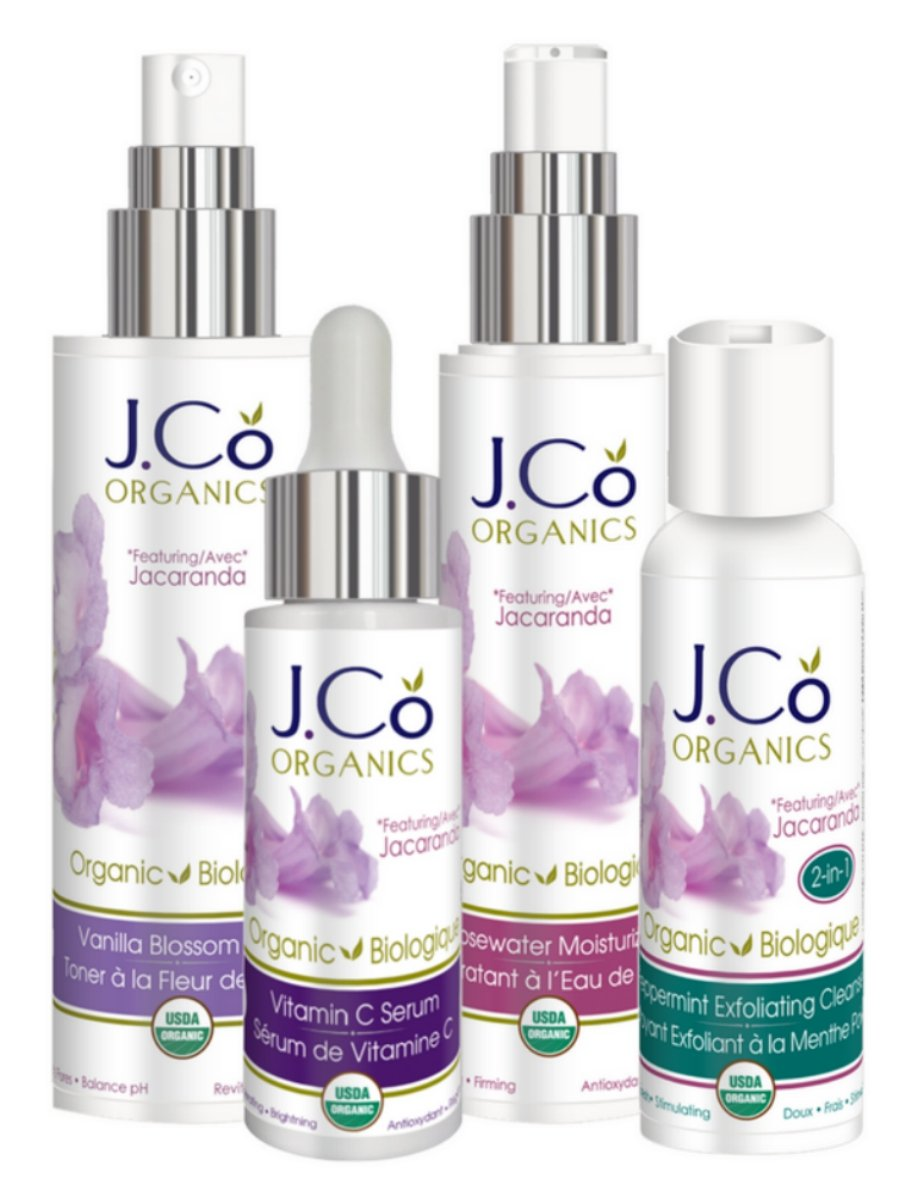 Organic Anti-Aging Skin Care Kit by J.Co Organics - Vitamin C Serum, Vanilla Blossom Face Toner, Rosewater Facial Moisturizer and Peppermint Facial Cleanser. Certified Organic Professional Grade Skin Care Products, Made in Canada, Cruelty Free, Paraben Fre