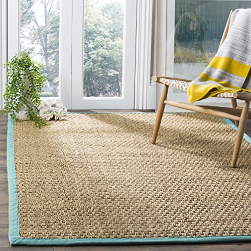 Safavieh Natural Fiber Collection NF114R Basketweave Natural and Teal Summer Seagrass Square Area Rug (6' Square) - Kitchen Furniture Home Decor