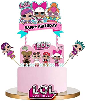Amazon.com: LOL - Decoración para tarta de cumpleaños, color ...