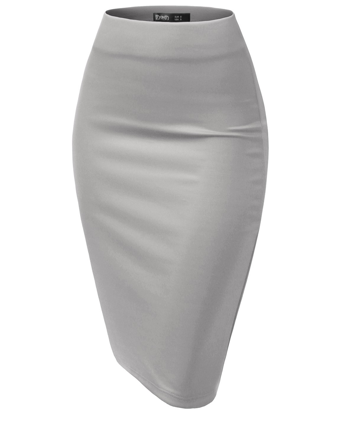 TWINTH Women's Elastic Waist Band Stretchy Fabric Pencil Skirt Gray L