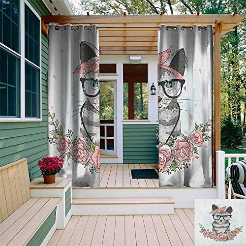 leinuoyi Kitten, Outdoor Curtain Set of 2 Panels, Hipster Cool Cat with Spectacles Scarf Necklace Earrings and Flowers Little Hearts, for Pergola W120 x L96 Inch Multicolor