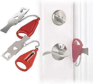 2 Pack Portable Door Locks, Travel Door Lock, Portable Door Lock Security Device for Hotel, Home, School, Travel, Apartment