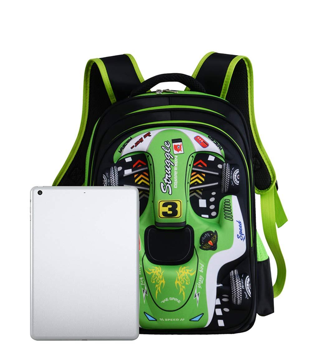 HJYJZ Bolsa Escolar para Niños 3D Racing Shoulders Bag 6-12 Años De Edad Mochila para Niños 12.5 * 9.4 * 16.9Inch, Azul,Green: Amazon.es: Deportes y aire ...