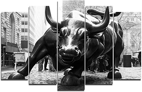 Faicai Art 5 Piece Canvas Wall Art Prints New York Landmark Charging Wall Street Bull Paintings Large Animal Printings Wall Posters Pictures Living Room Wall Decor Home Office Framed 70''W x 40''H
