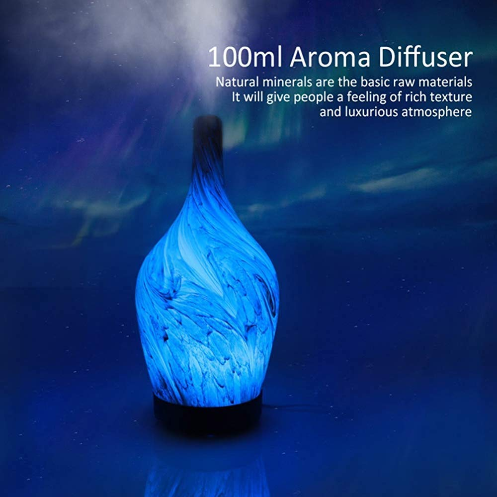 QSCA Household Ceramic Aroma humidifier Office air Conditioning Room Atomizer Glass ultrasonic air Purification Aromatherapy Device-Light Wood Grain by QSCA (Image #6)