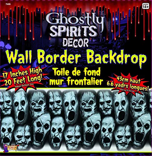 Forum Novelties 20 Foot Long Screaming Faces Wall Border Halloween Party Decoration One Size -