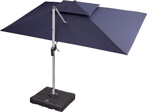 PURPLE LEAF 10 X 13 Double Top Deluxe Rectangle Patio Umbrella Offset Hanging Umbrella Outdoor Market Umbrella Garden Umbrella, Navy Blue