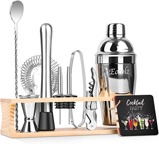 Include Bartenders Professional Shaker Strainer Liquor Pourers and More Jigger 13 Piece Bar Tool Set with Stylish Bamboo Stand Premium Cocktail Shaker Bartender Kit