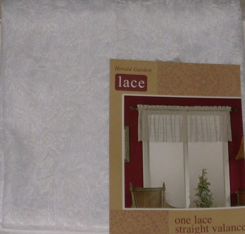 Home Herald Garden White Lace Straight Window Valance Curtain Topper