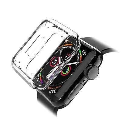 LK Funda para Apple Watch 44mm Series 4, Carcasa Cubierta TPU Silicona Goma Suave Case Cover Play Fino Anti-Arañazos - Clara