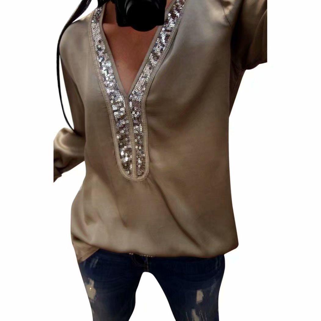 Yesmile Damen Blusen V Ausschnitt Patchwork Damen Mode mit Pailletten Langarm Bluse Tops Kleidung T-Shirt Neu Mode Kleider