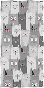 Wamika Cat Pattern Large Hand Towels Retro Grey Funny Cats Kitten Animals Towel Ultra Soft Highly Absorbent Multipurpose Bathroom Towel for Hand,Face,Gym,Sports and Spa Home Decor, 16x30 in
