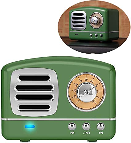 Enhanced Bass Retro Wireless Vintage Speaker Portable Stereo Speaker TF Card Slot,USB Port,Built-in Mic Outdoors,Beach,Home,Travel,Compatible for Android//iOS Devices Olive Green